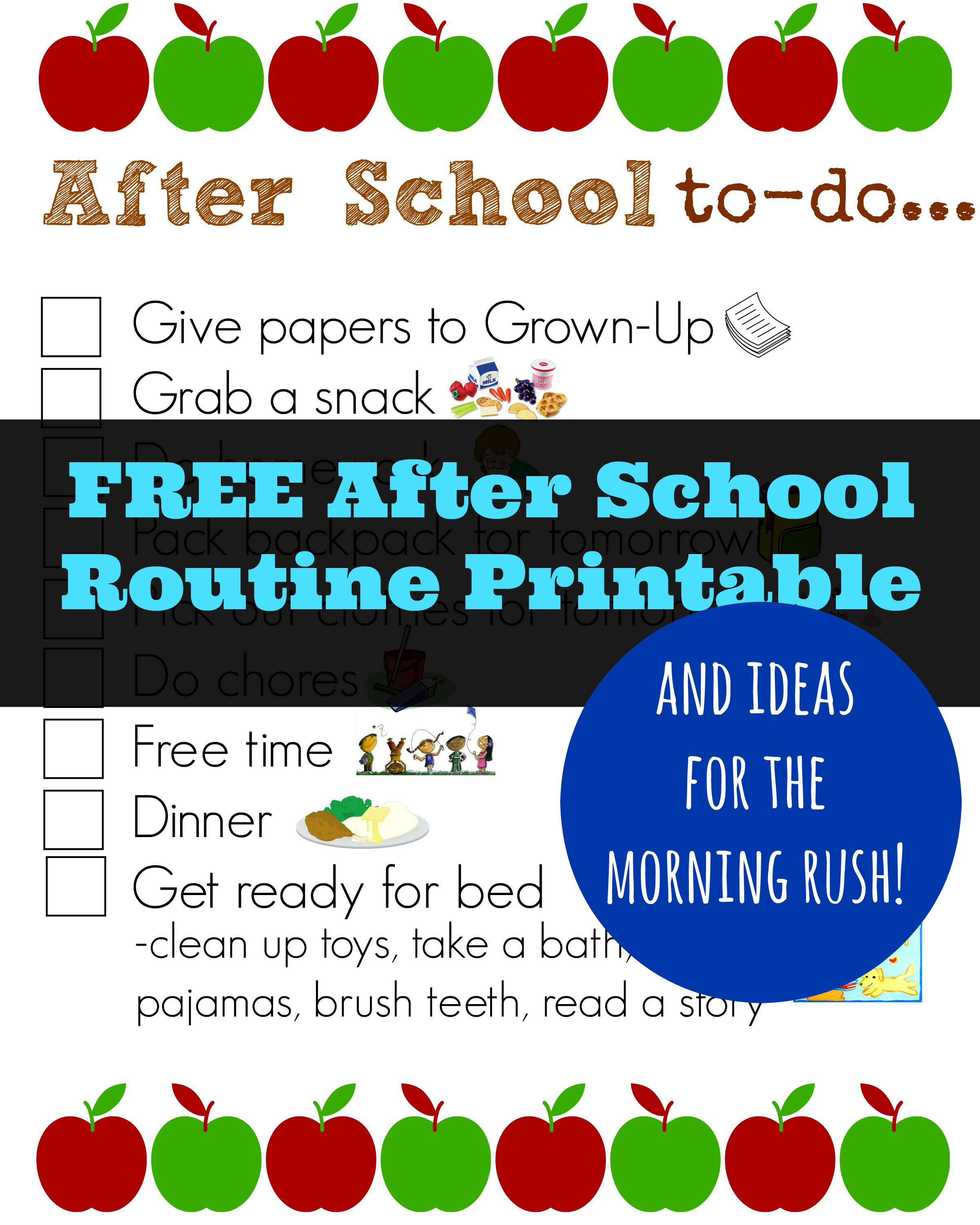 graphic regarding After School Schedule Printable referred to as Totally free The moment College or university Agenda Printable Mandys Recipe Box